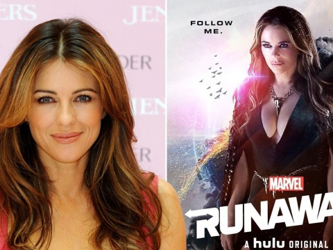 Liz Hurley smoulders on Marvel's Runaways poster in outfit only she could pull off