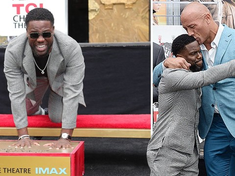 Dwayne 'The Rock' Johnson supporting Kevin Hart at his handprint ceremony is just so pure