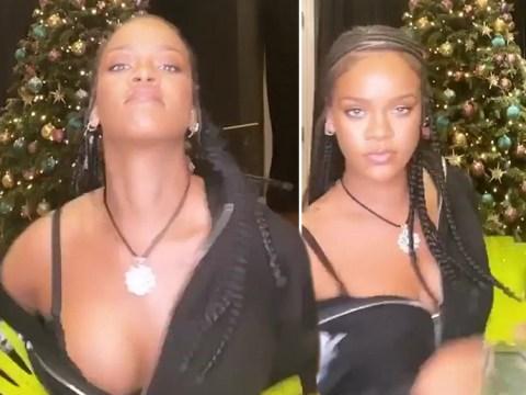 Rihanna rocks around 10ft Christmas tree and we dare you not to feel festive