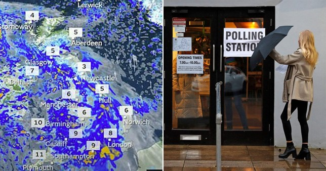 Met Office forecast map for 12/12/2019 and woman holding umbrella in wind outside polling station