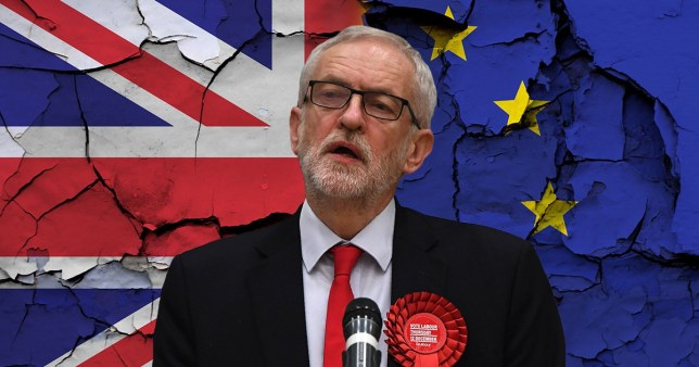 Jeremy Corbyn on backdrop of union jack and EU flag