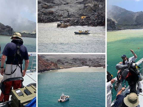 Divers search contaminated water for two bodies after New Zealand volcano eruption