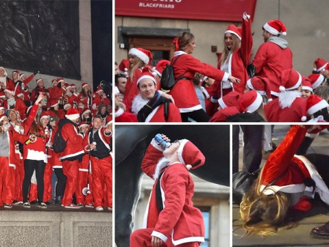 Boozy santas look worse for wear as they hit the streets for London pub crawl