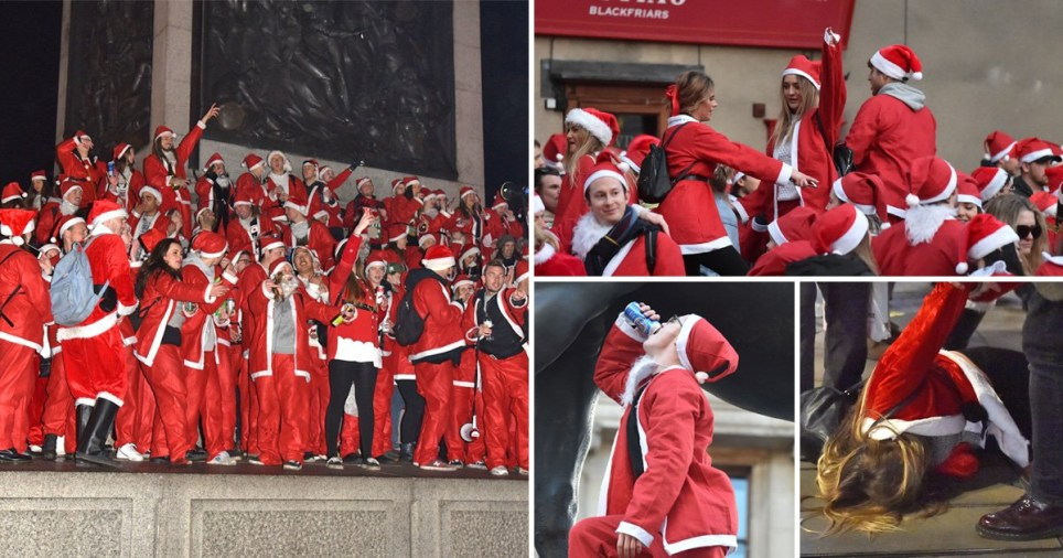 Revellers in London take to the streets dressed as Santa (Picture: Backgrid