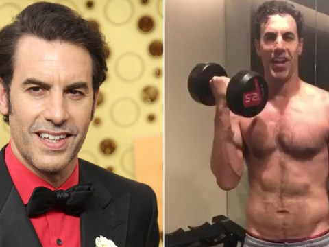 Sacha Baron Cohen is actually kind of ripped as Isla Fisher fawns over topless star working out