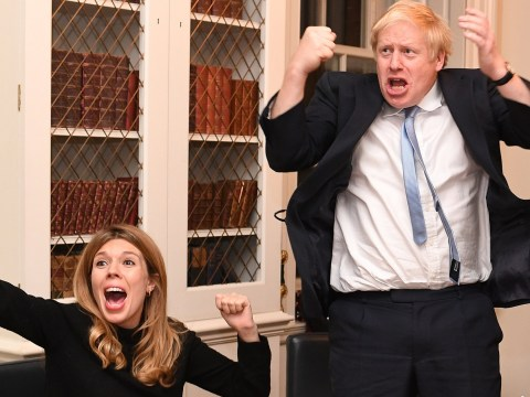 Moment Boris Johnson and Carrie Symonds realise they've won the election