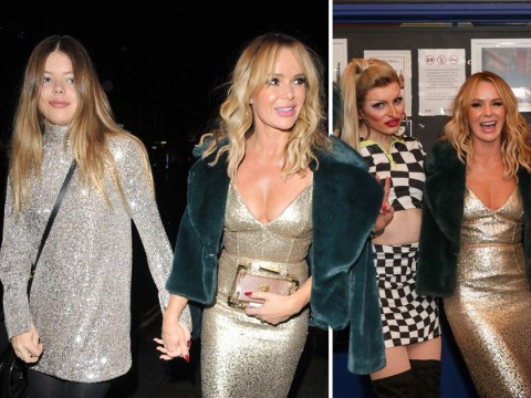 Amanda Holden shines bright like a diamond as she watches drag panto with daughter