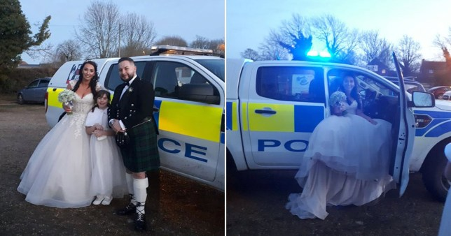 Jemma Bassam and husband Craig with the police car at their wedding day