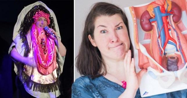 'I dress up as a vulva to teach women about incontinence' (Gusset Grippers)