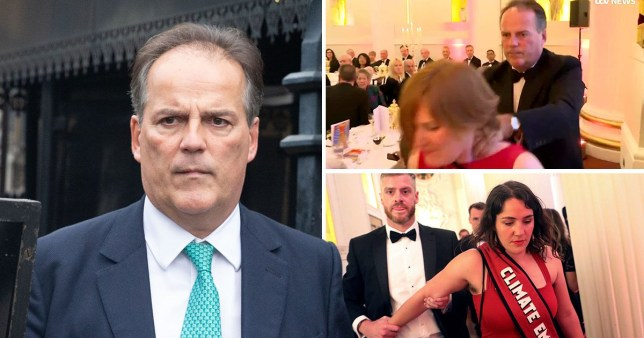 Mark Field and pictures of environmental protesters in Mansion House, city of London