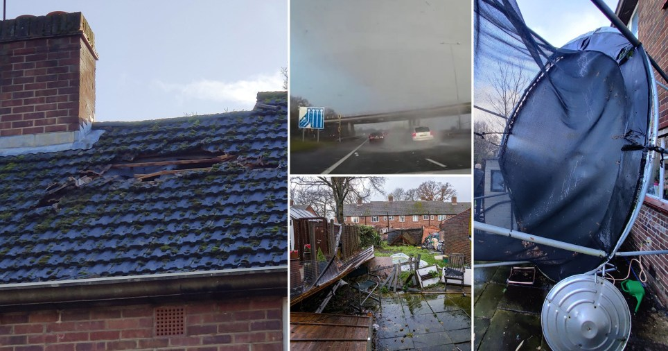 A tornado swept through Surrey yesterday