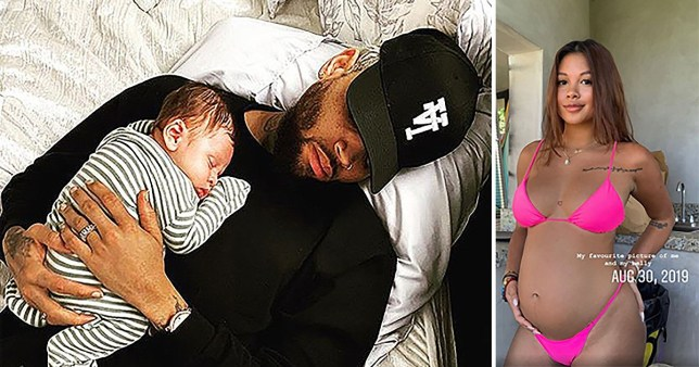 Chris Brown, son Aeko and Ammika Harris