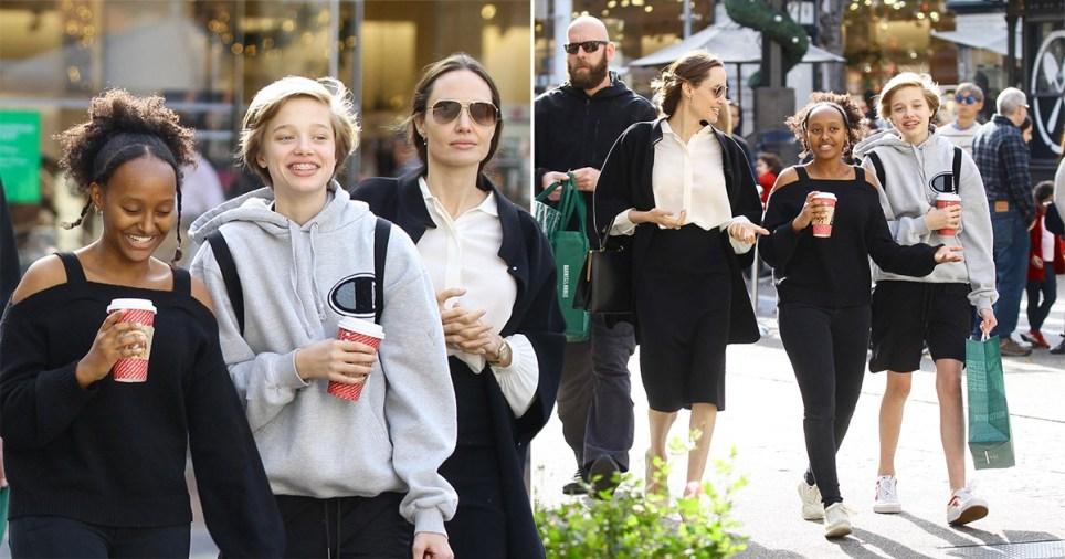 Angelina Jolie and Shiloh and Zahara