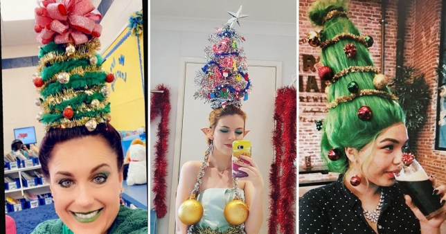 People with Christmas tree hair