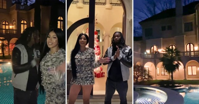 Cardi B and Offset take fans on tour of insanely huge 'dream' mansion as they celebrate Christmas