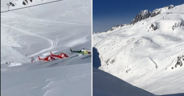 Rescue helicopters in the alps