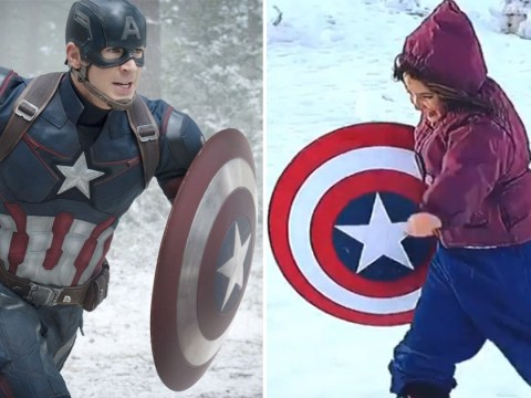 Avengers' Lexi Rabe is every bit Tony Stark's daughter as she takes 'Uncle Cap's' shield sledding