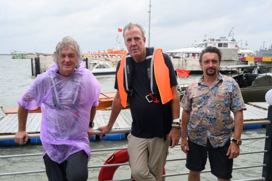 Undated handout photo issued by Amazon Prime Video of presenters (left to right) James May, Jeremy Clarkson and Richard Hammond, during a trip to Southeast Asia for the Amazon Prime Video show The Grand Tour, where Clarkson this week admitted he had come to believe in climate change following the trip. PA Photo. Issue date: Saturday November 30, 2019. The Grand Tour presents: Seamen will be available on Amazon Prime Video on Friday 13th December. See PA story SHOWBIZ Clarkson. Photo credit should read: Amazon Prime Video/PA Wire NOTE TO EDITORS: This handout photo may only be used in for editorial reporting purposes for the contemporaneous illustration of events, things or the people in the image or facts mentioned in the caption. Reuse of the picture may require further permission from the copyright holder.