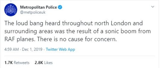 Residents in north London concerned after hearing loud bang during the night is RAF plane sonic boom Picture: Twitter