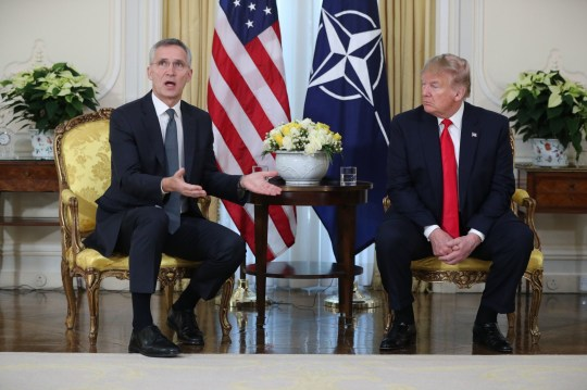US President Donald Trump (right) holds a breakfast meeting with Nato Secretary General Jens Stoltenberg at Winfield House, the residence of the Ambassador of the United States of America to the UK, in Regent's Park, London, as Nato leaders gather to mark 70 years of the alliance.. PA Photo. Picture date: Tuesday December 3, 2019. Photo credit should read: Jonathan Brady/PA Wire