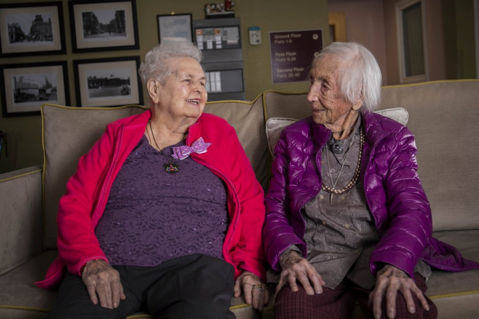 Lil (left) celebrates her 100th birthday with a party alongside her sister Win (right) who is 108 years old. Newport. See SWNS story SWBRsisters. A woman has turned 100 with a care home party joined by her big sister - aged 108. Singer Lil Thomas celebrated her 100th bash thrown for her by staff at the assisted living home where she lives. But Lil wasn't the only guest of honour at the party - as she had her older sister, Amy Winifred Hawkin - known as 'Win' - by her side, at the age of 108. Between them, the extraordinary sisters have now received six birthday cards from the Queen - with the collection set to grow next month, when Win turns 109.