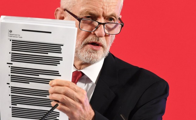 Labour Party leader Jeremy Corbyn holds up redacted documents of secret talks between the UK and US governments over a post-Brexit trade deal during a speech on the National Health Service (NHS) in London, Britain, 27 November 2019.