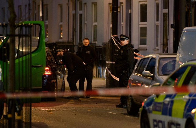 Mandatory Credit: Photo by Justin Griffiths-Williams/REX (10492771q) The police cordon off the scene on Clarence Road, Lower Clapton, Hackney where a young man was stabbed to death earlier today Fatal stabbing in Hackney, London, UK - 05 Dec 2019