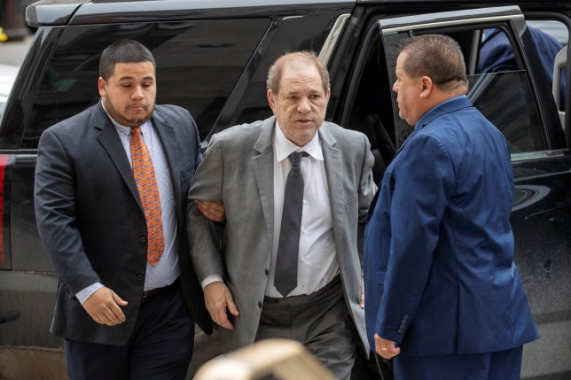 Harvey Weinstein held up as he leaves court over bail violation claims ahead of sexual assault trial