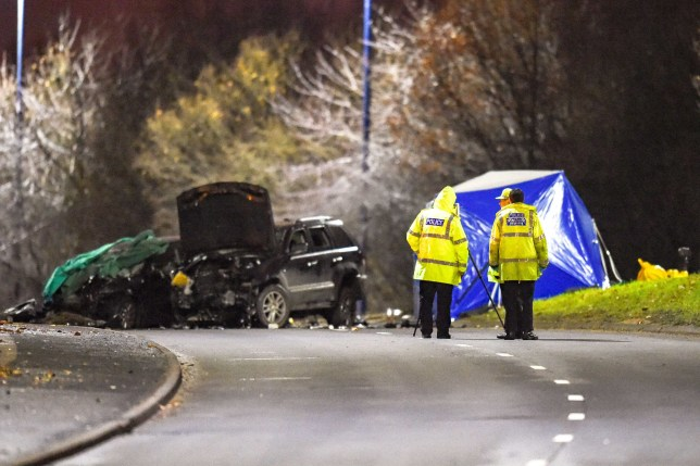 "**Moving Footage with relevant desk** Pic by SnapperSK - **Number plates may need pixelating/Moving Footage with relevant desk** Pic by SnapperSK - (Pictured: Police close the A41, Black Country New Road , Wednesbury, West Midlands after a Black Cherokee Jeep with four occupants has a head on collision with a black golf driven by a inocent member of the public who sadly died at the scene. The four "" car thieves"" in the jeep sustain serious injuries killing the driver at the scene"" The collision which happened at around 1030pm 6/12/19 closed the dual carridgway for a number of hours while forensic investigators gathered evidence. One witness at the scene - a lorry driver - said "" it was utter carnage, how anyone got out is amazing, one lad climbed out on is own. It didnt look good for two of em"" . Another at the scene suggested another car was involved which fled the scene of the crash??? The road, a busy artieral route joining the Black Country to Wolverhampton is a major dual carridgeway which was closed to both vehicles and pedestrians until early morning 7/12/19. It is belived the driver of the jeep was a 21 year old male and the memeber of the public was man in his 50's. Both were pronounced dead at the scene. Police tweeted "" Officers are currently dealing with a serious two - car collision on the A41 Black Country New Road. The road is closed in both directions between Patent Shaft Roundabout and Moxley Junction."" WMFS also tweeted saying "" The road would be closed for sometime"" ENDS"