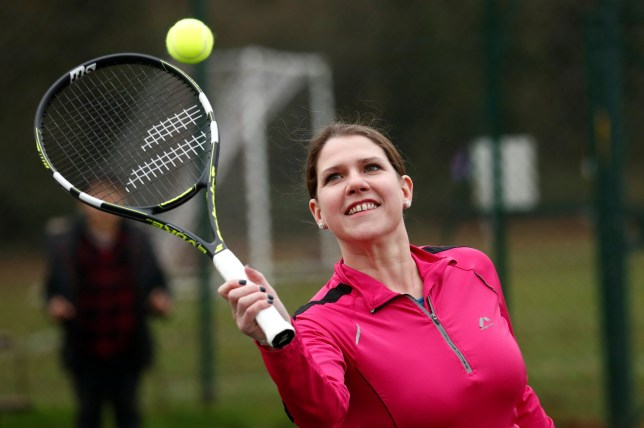 Britain's Liberal Democrats leader Jo Swinson plays tennis during a visit to Shinfield tennis club in Reading, Britain December 7, 2019. REUTERS/Gonzalo Fuentes