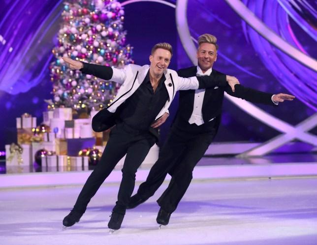 LONDON, ENGLAND - DECEMBER 09: Ian Watkins amd Matt Evers during the Dancing On Ice 2019 photocall at ITV Studios on December 09, 2019 in London, England. (Photo by Mike Marsland/WireImage)