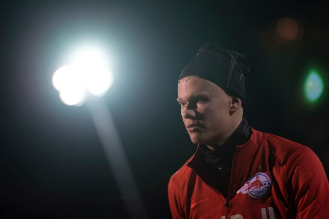 Erling Haaland of FC Salzburg is pictured all wrapped up in a training session