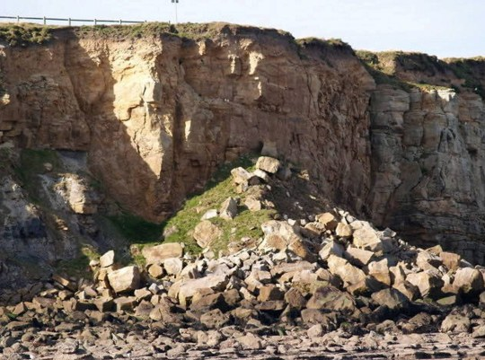 Dated: 10/12/19 George the Jack Russell dog who miraculously survived plunging 40ft off a cliff on the Northumberland coast. Pictured are the rocks where he was found. See North News story