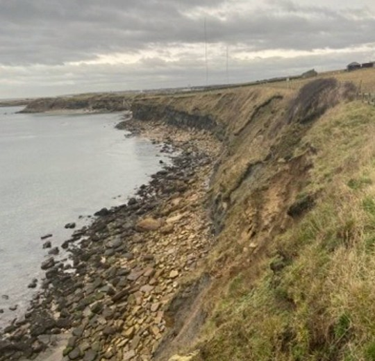 Dated: 10/12/19 George the Jack Russell dog who miraculously survived plunging 40ft off a cliff on the Northumberland coast. Pictured is the cliff where he fell. See North News story