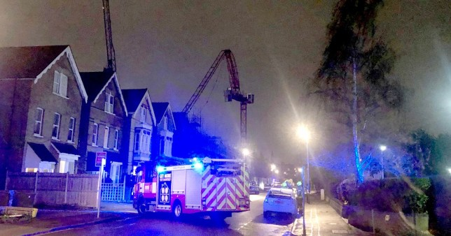 ? Licensed to London News Pictures. 10/12/2019. London, UK. The scene where a crane has collapsed in high winds on Beaufort Road in Kingston, West London as large parts of the uk have been battered by strong winds and rain. Photo credit: Stephen Simpson/LNP