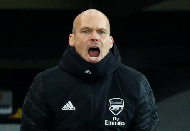 Arsenal interim manager Freddie Ljungberg shouts at his players from the touchline