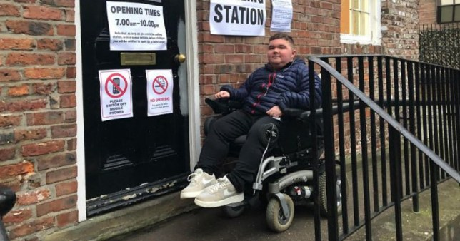 Sam Smith, 20, had to vote on a ramp after he couldn't get into the polling station