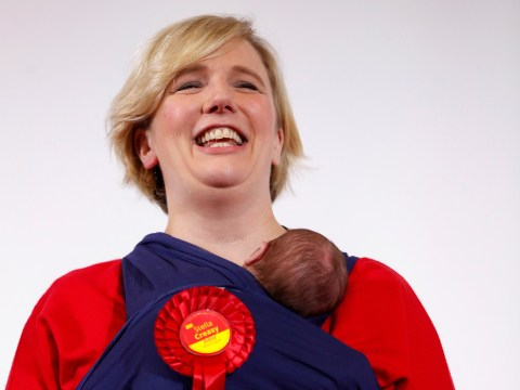 Labour MP Stella Creasy joined on stage by newborn daughter