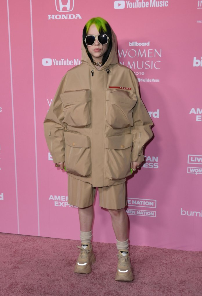 US singer/songwriter honoree Billie Eilish arrives for Billboard's 2019 Woman of the Year at the Holllywood Palladium in Los Angeles on December 12, 2019. - Billboard's 2019 Woman of the Year is Billie EIlish. (Photo by VALERIE MACON / AFP) (Photo by VALERIE MACON/AFP via Getty Images)