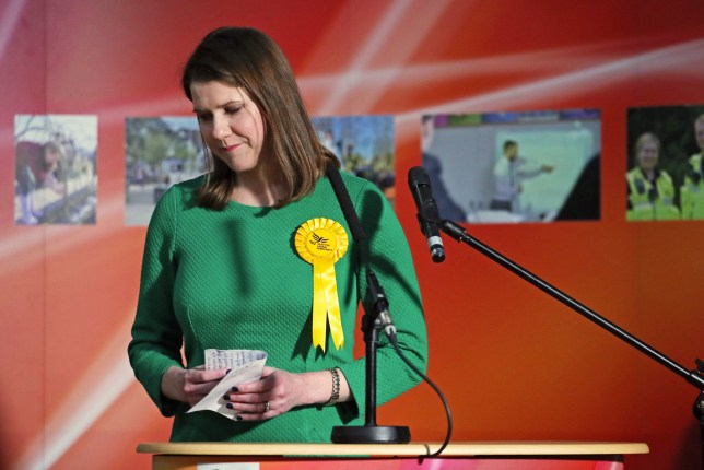 Lib Dem leader Jo Swinson reacts as she loses her East Dumbartonshire constituency, during the count at the Leisuredome, Bishopbriggs. PA Photo. Picture date: Friday December 13, 2019. See PA story POLITICS Election. Photo credit should read: Jane Barlow/PA Wire