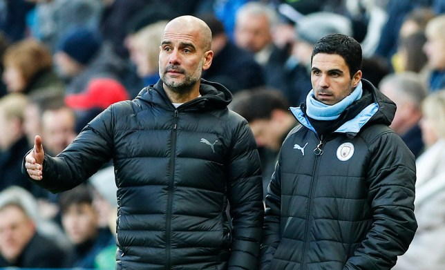 epa08034989 Manchester City's head coach Pep Guardiola (R) and his assistant Mikel Arteta (L) during the English Premier League soccer match between Newcastle United and Manchester City in Newcastle, Britain, 30 November 2019. EPA/Lynne Cameron EDITORIAL USE ONLY. No use with unauthorized audio, video, data, fixture lists, club/league logos or 'live' services. Online in-match use limited to 120 images, no video emulation. No use in betting, games or single club/league/player publications
