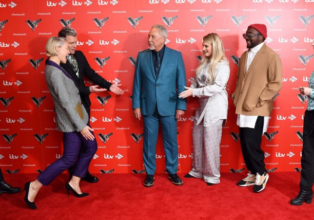 """Olly Murs, Sir Tom Jones, Emma Willis, Meghan Trainor and will.i.am attends the new series launch of """"The Voice UK"""" at the Soho Hotel, London. 15/12/2019 Credit Photo (c)Karwai Tang For more information, please contact: Karwai Tang 07950 192531 karwai@karwaitang.com"""