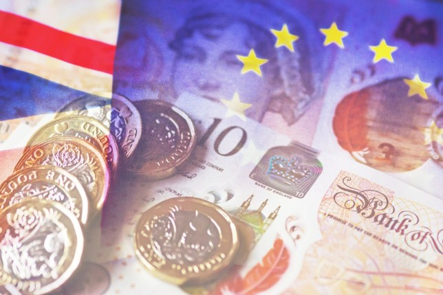 A compilation of several images of Euros, pounds and Euro and UK flags