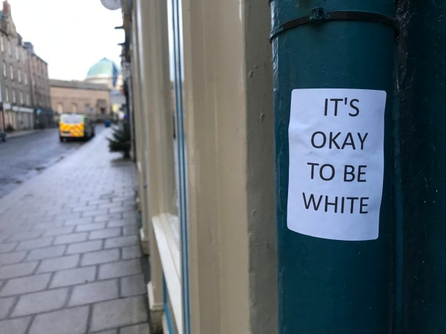 FROM JOHN JEFFAY AT CASCADE NEWS LTD 0161 660 8087 / 07771 957773 john@cascadenews.co.uk / www.cascadenews.co.uk Syndicated for Dundee Courier RACIST flyers with the slogan ?It?s okay to be white? have appeared in Perth, prompting a furious backlash. The phrase has been adopted by white supremacists in the USA and beyond in the last two years. Dozens of stickers reading ?It?s okay to be white? in block capitals appeared on streetlights and drainpipes around Perth city centre over the weekend. The slogan rose to notoriety after being used by white supremacists on internet message boards and social media and was later posted around college campuses in the USA by far-right protesters.