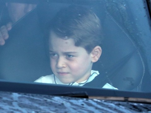 Prince George pulls up at gan gans with Charlotte and Louis for Christmas lunch