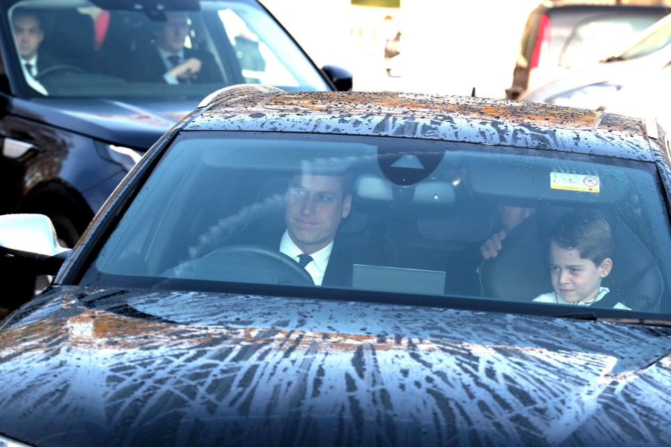 Prince George sits in the front passenger seat next to his father the Duke of Cambridge as they arrive for the Queen's Christmas lunch at Buckingham Palace, London. PA Photo. Picture date: Wednesday December 18, 2019. Photo credit should read: Aaron Chown/PA Wire