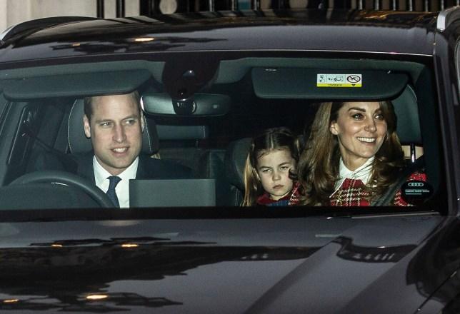 Mandatory Credit: Photo by Jeff Gilbert/REX (10509056d) Prince William, Princess Charlotte and Catherine Duchess of Cambridge Royal family Christmas Lunch at Buckingham Palace, London, UK - 18 Dec 2019