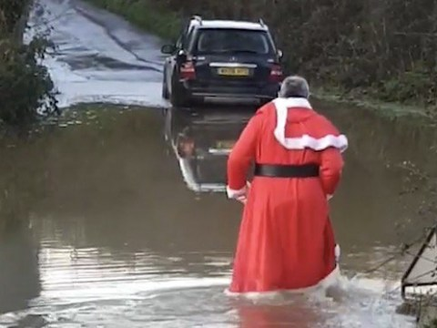 Santa forced to seek help when Mercedes gets stuck in Dorset flooding
