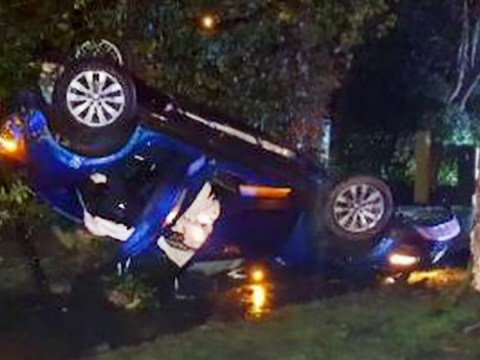Hunt for three who escaped from mangled wreckage of car after crash