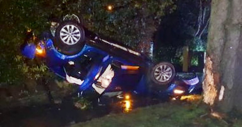 Three people miraculously escaped from the mangled wreckage of a car after it smashed into a tree and overturned in Stockport.The Volkswagen T-Roc was so badly damaged that the boot was completely folded in half, the suspension arm was ripped off and the roof came apart.